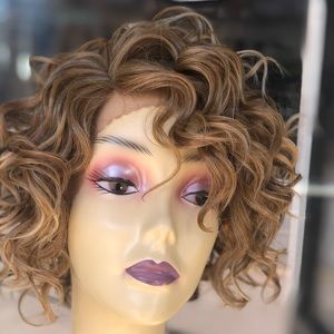 Curly short blonde mix lace wig 2020